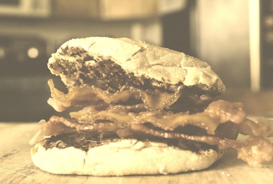 Bacon Nutella English Muffin sandwich. (by suelingcurtis)
