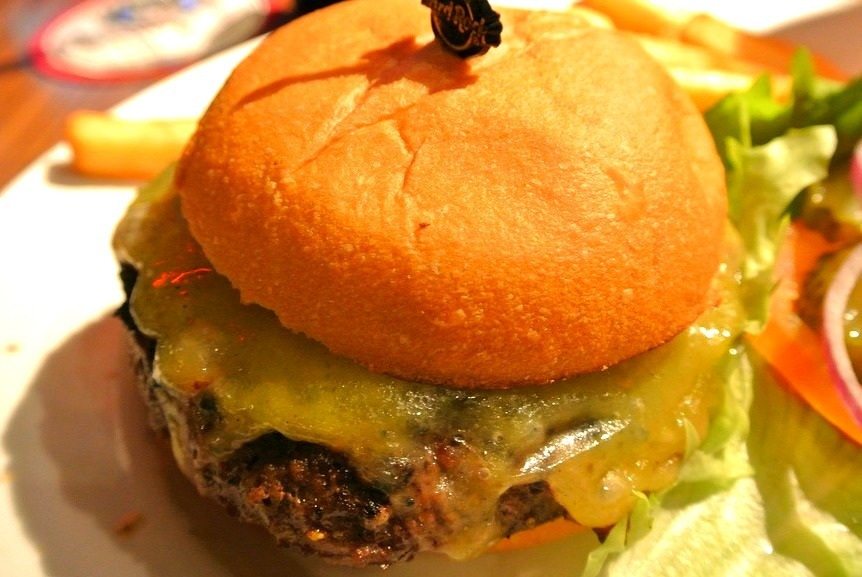 Burger topped with Monterey Jack Cheese (by lucastadio)