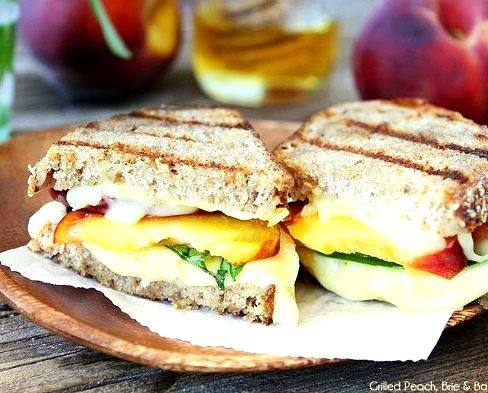 Grilled Peach, Brie, and Basil Sandwich