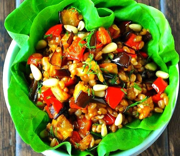 tunisian spiced roasted eggplant & pepper salad
