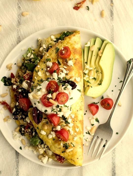 Greek Quinoa Omelettes with Feta and Tzatziki