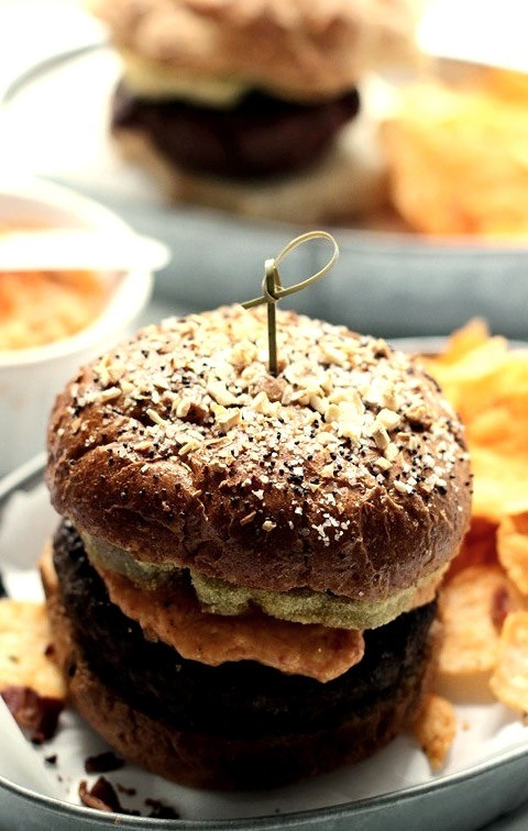 Fried Green Tomato and Pimento Cheese Burgers