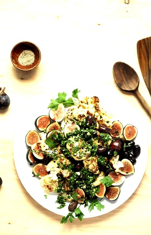 Roasted Cauliflower with Figs, Olives, and Chimichurri Brooklyn Supper