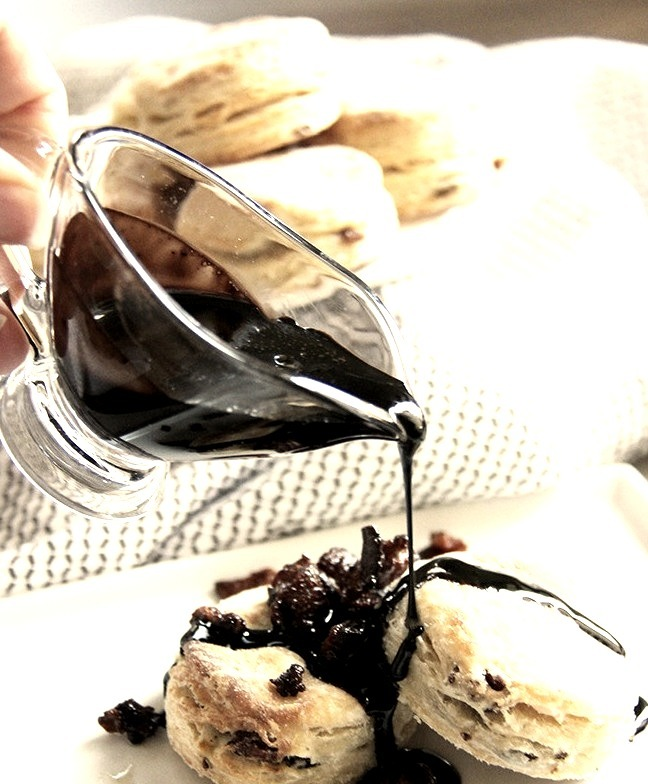 Bacon Buttermilk Biscuits with Chocolate Syrup